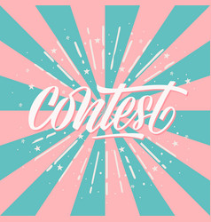 Contest card banner card with calligraphy white vector