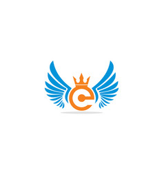 crown wing initial logo vector image