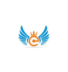 Crown wing initial logo vector