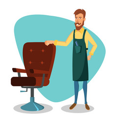 Cute barber cartoon happy hipster barber vector