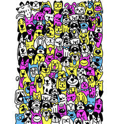 Cute dogs doodle style different type cartoon vector