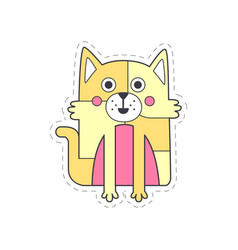 cute funny cat colorful cloth patch applique vector image