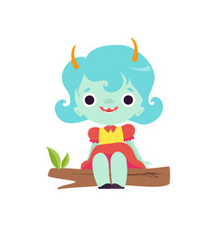 Cute horned troll girl happy adorable fantasy vector