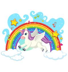 cute unicorn on sky vector image