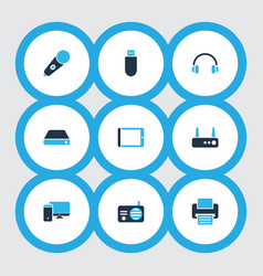device icons colored set with hard drive vector image