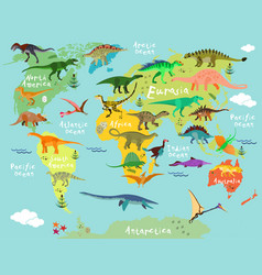 Dinosaurs map of the world vector