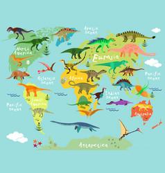 Dinosaurs map world vector