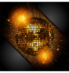 disco ball in glowing gold with black corners vector image