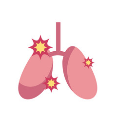 Diseased lungs icon flat style vector