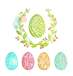 Easter Eggs Collection with Flowers Decoration in vector image