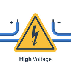 Electricity wires and high voltage sign vector
