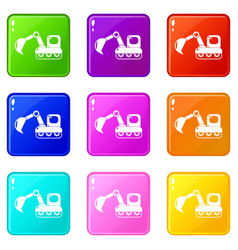 Excavator icons set 9 color collection vector