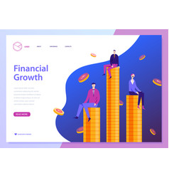 Finncial growth landing page template men vector