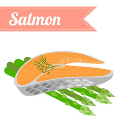 flat salmon with asparagus vector image vector image