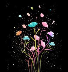 Flowers arrangement with petals background design vector