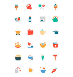 Food and drinks colored icons 4 vector