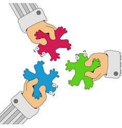 Forced together figures cartoon vector
