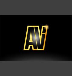 Gold black alphabet letter av a v logo vector