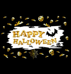 halloween party gold glitter balloon label vector image
