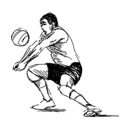 Hand sketch volleyball player vector image