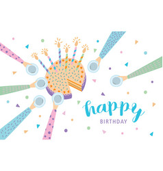 Happy birthday greeting card festive cake with vector