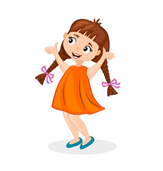 happy cute cartoon little girl with pigtails vector image