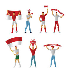 indonesia football fans cheerful soccer vector image
