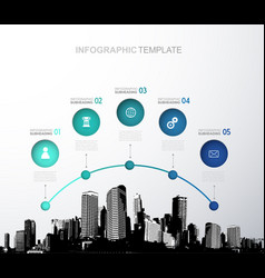 infographic template with five circles icons and vector image