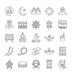 Islamic culture linear icons set vector