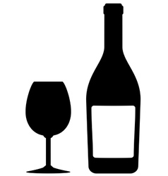 isolated bottle and glass vector image