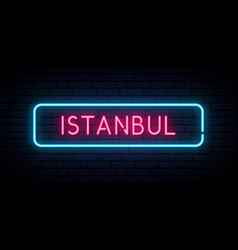 istanbul neon sign bright light signboard vector image