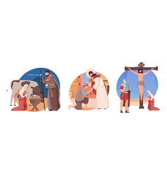 Jesus flat compositions set vector