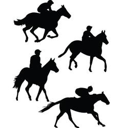 jockeys silhouette vector image