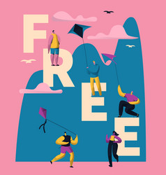 kite free typography banner vertical design people vector image