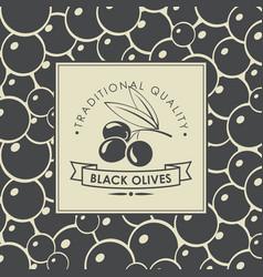 Label for black olives with olive twig vector
