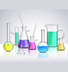 Laboratory glassware realistic composition vector