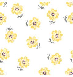 Lemon colored daisy pattern on white vector