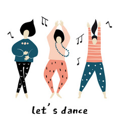 lets dance dancing girls vector image
