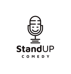 Line art mic comedy podcast logo design vector