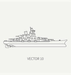 Line flat retro icon naval battleship vector