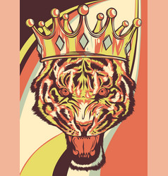 lion with crown colored background vector image