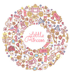little princess icons frame vector image