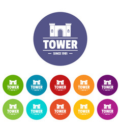 Luxury tower icons set color vector