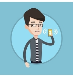 Man holding ringing mobile phone vector