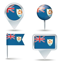 Map pins with flag of Anguilla vector image