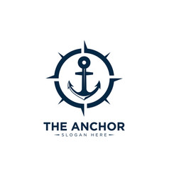 Marine retro emblems logo with anchor and sailor vector