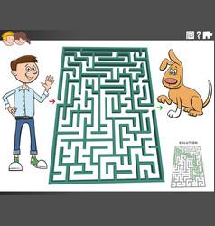 Maze game with cartoon teen boy and dog vector