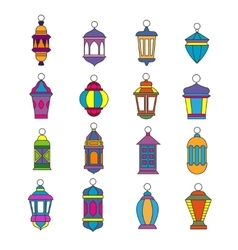 Old arabic light lamp set Muslim Ramadan lanterns vector