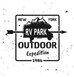 outdoor expedition black vintage emblem vector image