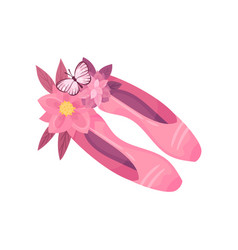 Pair pink pointe shoes on vector
